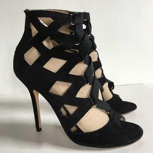 Jimmy Choo black caged heels w back zipper 39